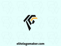 "Simple logo design consists of the combination of a gryphon with a shape of a letter ""G"" with black and yellow colors."