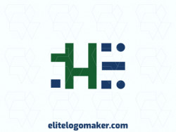 "Minimalist logo with a refined design forming a letter ""H"" combined with a letter ""E"", the colors used were green and blue."