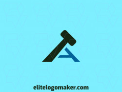 "Ideal logo for different businesses in the shape of a hammer combined with a letter ""A"", with creative design and minimalist style."