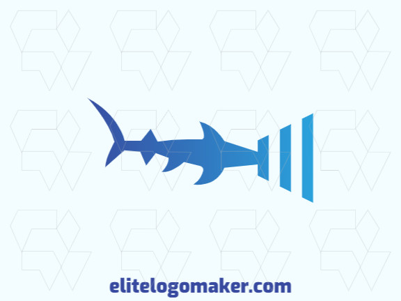 Simple logo design with the shape of a hammerhead shark combined with a wifi icon with blue colors.