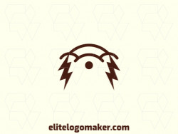 Logo available for sale in the shape of a hamster combined with a lightning bolt, with abstract style and brown color.