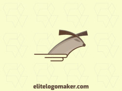 Animal logo with the shape of a hamster combined with a book with beige and brown colors.