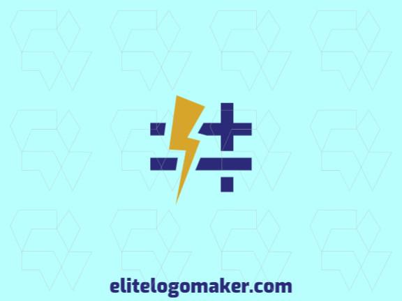 Logotipo composto por formas abstratas formando uma hashtag combinado com um raio com estilo abstrato, as cores utilizadas foi amarelo e azul.