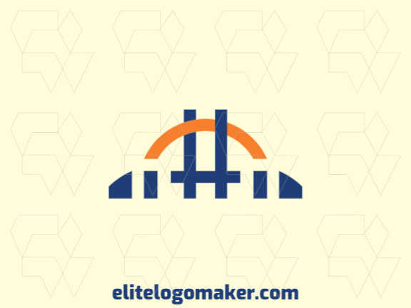Abstract logo with the shape of a bridge combined with a hashtag with blue and orange colors.