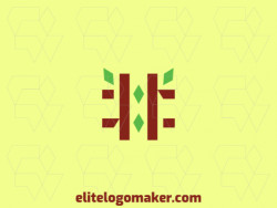 Minimalist logo with the shape of a hashtag combined with leaves with brown and green colors.