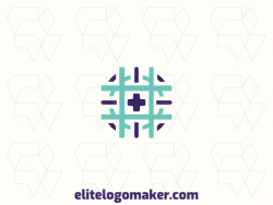 Symmetric logo created with abstract shapes, forming a hashtag combined with a target, with green and purple colors.