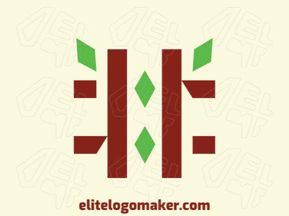 Logotipo minimalista com formas criativas formando uma hashtag unido com folhas com design refinado e cores verde e marrom.