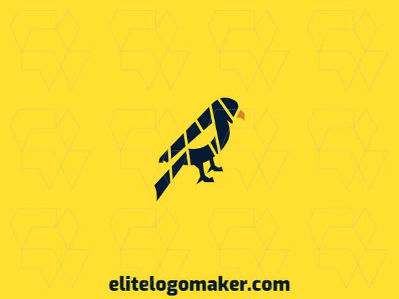 Logotipo mosaico com formas criativas formando um falcão com design refinado e cores azul e amarelo.
