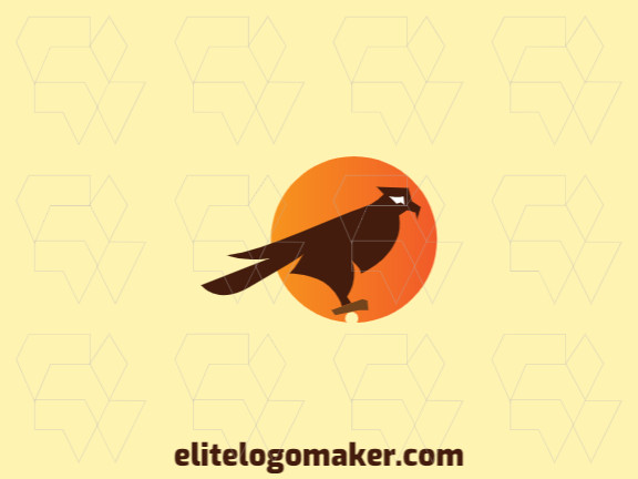 Gradient logo design with the shape of a hawk and a circle composed of abstracts shapes with orange, yellow, and brown colors.