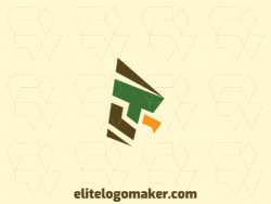 Minimalist logo with solid shapes forming a hawk with a refined design, the colors used are brown, yellow, and green.