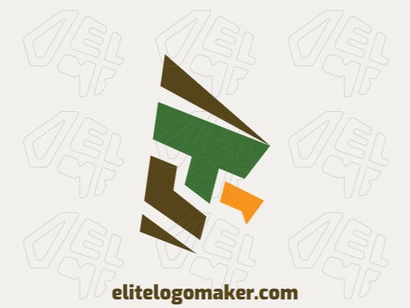 Logotipo composto por formas abstratas formando um falcão com estilo minimalista, as cores utilizadas foi marrom, amarelo, e verde.