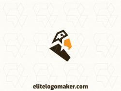 Minimalist logo in the shape of a hawk composed of solids shapes with brown and yellow colors.