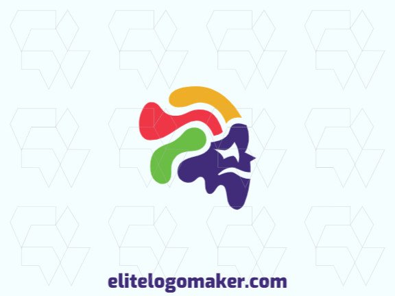 Original logo with abstract design forming a head with green, blue, yellow, and purple colors.