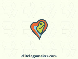 Animal logo design in the shape of a heart combined with a chameleon with green, blue and orange colors.