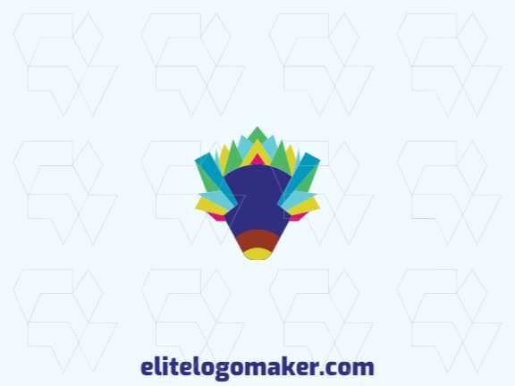 Animal logo design in the shape of a hedgehog composed of abstracts shapes with green, blue, yellow, pink and purple colors.