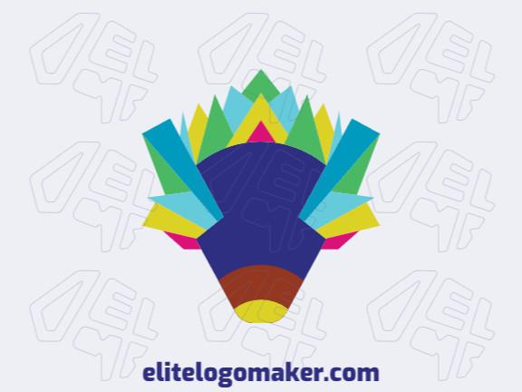 Logotipo profissional composto por formas estilizadas formando um porco-espinho com design criativo, as cores utilizadas foi azul, amarelo, laranja, verde, e roxo.