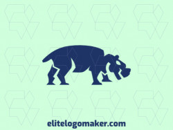 Animal mascot logo design in the shape of a hippopotamus composed of abstracts shapes with blue and gray colors.