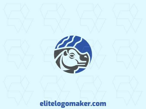 Logo created with circular style forming hippopotamus with colors blue and gray.