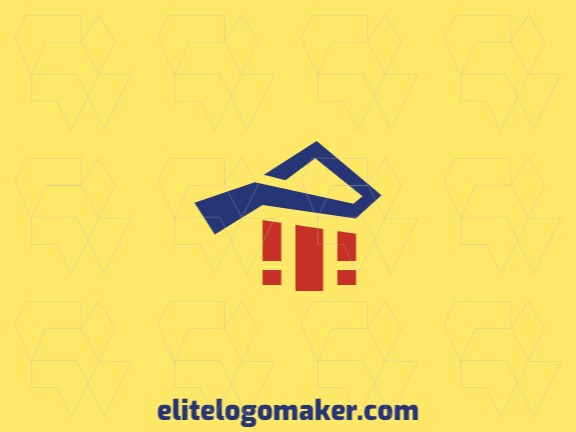 "Minimalist logo design consists of the combination of a letter ""p"" with a shape of a house with blue and orange colors."