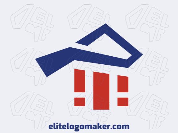 Logotipo composto por formas abstratas formando uma casa combinado com livros com estilo minimalista, as cores utilizadas foi azul e vermelho.