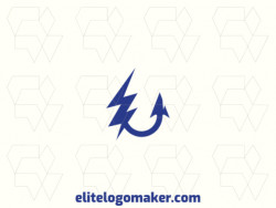 Customizable logo in the shape of a hook combined with a lightning bolt, composed of an abstract style and blue color.
