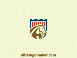 Mascot logo with a refined design forming a horse combined with a shield with blue, brown, and red colors.