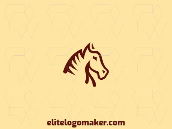 Logotipo elegante composto por formas criativas formando uma cabeça de cavalo com estilo abstrato, a cor utilizada foi marrom.