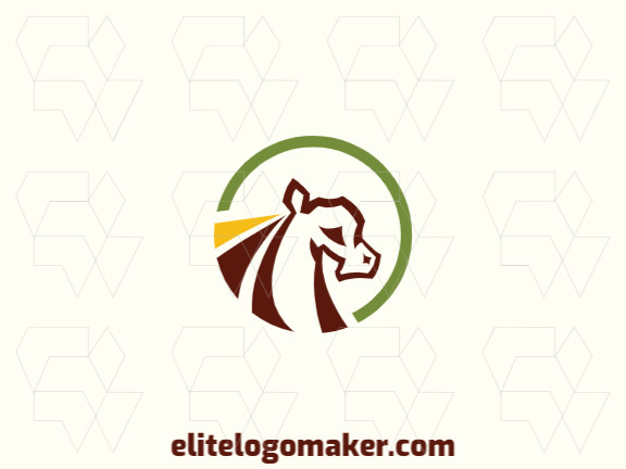 Circular logo design in the shape of a horse composed of abstracts shapes with yellow, green, and brown colors.
