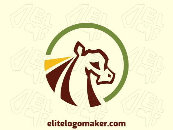 Logotipo circular criado com formas abstratas formando um cavalo com as cores amarelo, verde, e marrom.