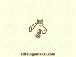 Outline logo design in the shape of a horse composed of stylized shapes with blue, brown, and yellow colors.