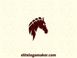 Logo created with abstract style forming a horse head with the color brown.