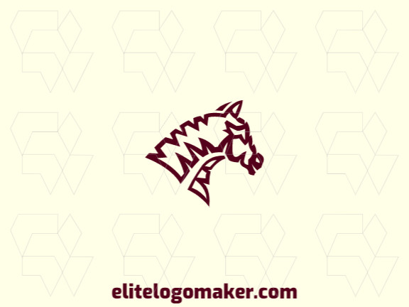Professional logo composed of lines forming a horse head with abstract design, the color used was brown.