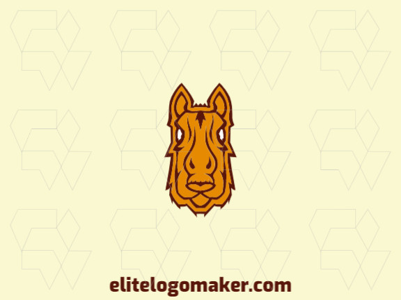 Abstract logo with solid shapes forming a horse head with a refined design, the colors used are yellow and brown.