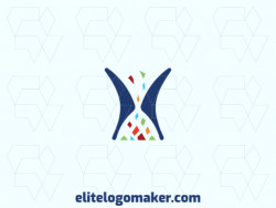 Vector logo in the shape of an hourglass with abstract style, with green, blue, brown, orange, red, and purple colors.