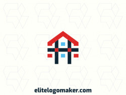 Create your own logo in the shape of a house, with a minimalist style with blue and red colors.