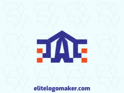 "Exclusive logo in the shape of a house combined with a letter ""A"", with a minimalist design with blue and orange colors."