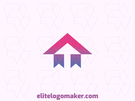 Customizable logo in the shape of a house combined with banderoles, with a gradient style, the colors used was purple and pink.