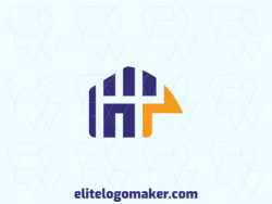 Customizable logo in the shape of a house combined with a bird, composed of a minimalist style, with blue and orange colors.