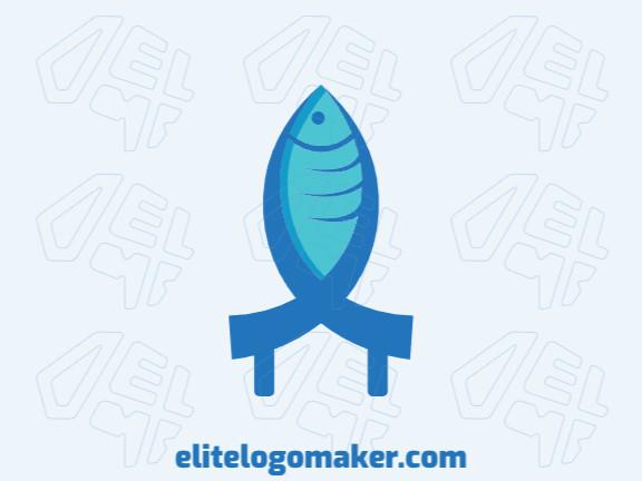 Logotipo único com a forma de um peixe mesclado com uma casa com conceito criativo e design abstrato.
