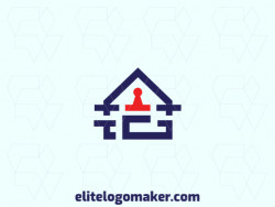 "Exclusive logo in the shape of a house combined with a letter ""G"", with abstract design with blue and red colors."