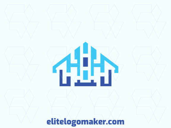 "Customizable logo in the shape of a #house combined with two letters ""H"", composed of a symmetric style."