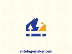 Abstract logo in the shape of a house combined with a lightning bolt, with creative design.
