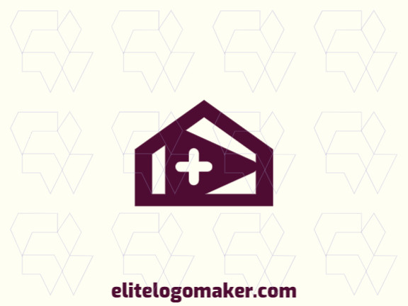 Exclusive logo in the shape of a house combined with a play icon, with minimalist design and purple color.