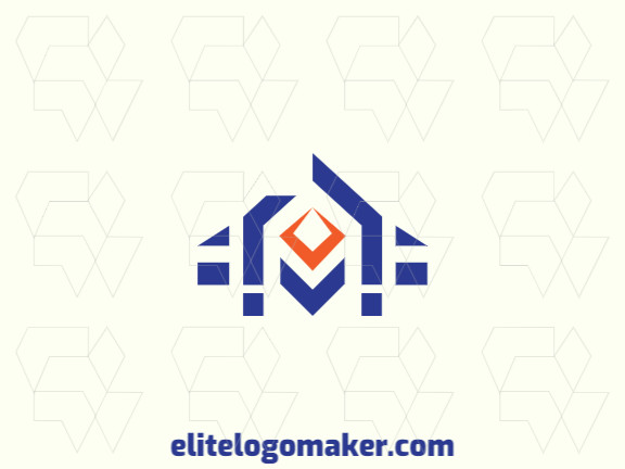 Create a logo for your company in the shape of a house with an abstract style with blue and orange colors.