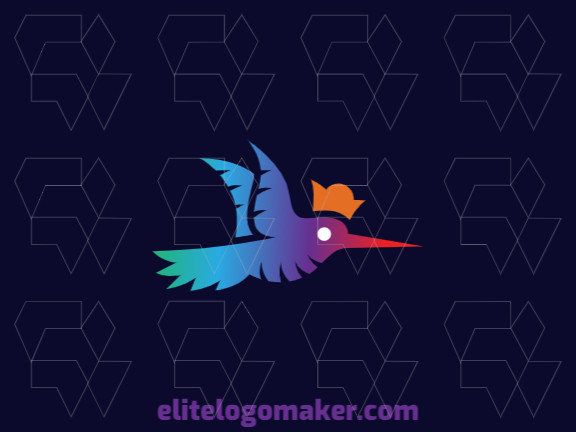 Gradient logo in the shape of a hummingbird wearing a crown with green, blue, orange, purple and red colors.
