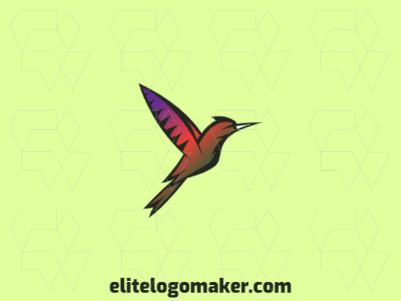 Gradient logo created with abstract shapes forming a hummingbird with green, orange, and purple colors.