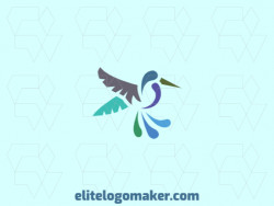 Ready-Made logo with ornamental style and abstract shapes forming a hummingbird with blue, purple, and green colors.