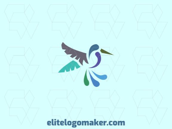 Logotipo adequado para várias empresas com a ilustração de um beija flor com design único e estilo abstrato.