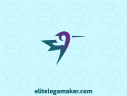 Logo available for sale in the shape of a hummingbird, with abstract design with green and purple colors.