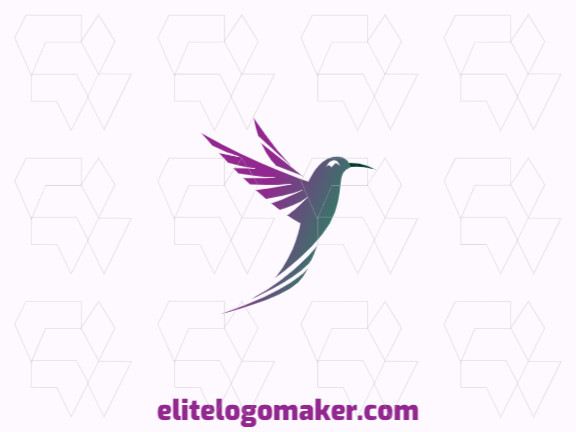 Customizable logo composed of solid shapes and gradient style forming a hummingbird with green, orange, and purple colors.